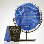 Jeweled Art Glass Plate Artistic Glass Awards