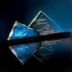 Liquid Sapphire Pyramid Artistic Glass Awards