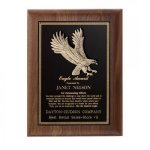 Hand Rubbed Walnut Eagle Award Plaque Cast Relief Plaques