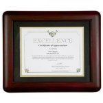 Mahogany Finished Frame Certificate Plaques