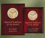 Piano Finish Wood Plaque Clock Employee Awards