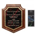 Gemstone Plate on Walnut Shield Plaque Employee Awards