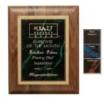Gemstone Plate on Walnut Plaque Employee Awards