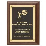 Walnut Finish Plaque W/Ornamental Rosette Screws Employee Awards
