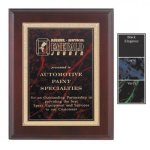 Gemstone Plate on Mahogany Finish Plaque Employee Awards