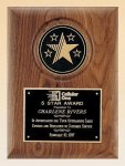 American Walnut Plaque with 5 Star Medallion Employee Awards