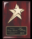 Rosewood Piano Finish plaque w/ star casting Employee Awards