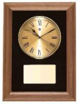 American Walnut Framed Wall Clock with Gold Face & Black Velour Employee Awards