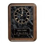 Black Onyx Wall Clock Plaque Executive Gift Awards
