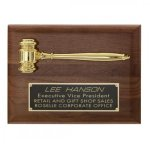24K Gold Plated Gravel Plaque Gavel Plaques