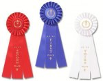 Classic Three Streamer Rosette Award Ribbon Gymnastics Trophy Awards