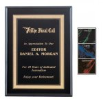 Gemstone Plate on Ebony Finish Plaque Marble Awards