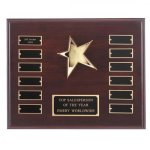 Mahogany Finish Perpetual Rising Star Plaque Monthly Perpetual Plaques