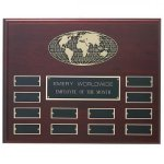Mahogany Finished Photo Cast Globe Perpetual Plaque Monthly Perpetual Plaques