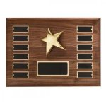 Walnut Perpetual Star Plaque Monthly Perpetual Plaques