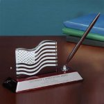 Silver Desk Pen Stand with Glass Flag Patriotic Awards