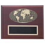 Mahogany Finished Photo Cast Globe Plaque Recognition Plaques
