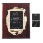 Rosewood Piano Finish Laurel Wreath Plaque Recognition Plaques