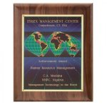 Hand Rubbed Walnut Screened World Plaque Walnut Plaques
