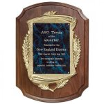 Laurel Wreath Gold Cast Frame Plaque Walnut Plaques